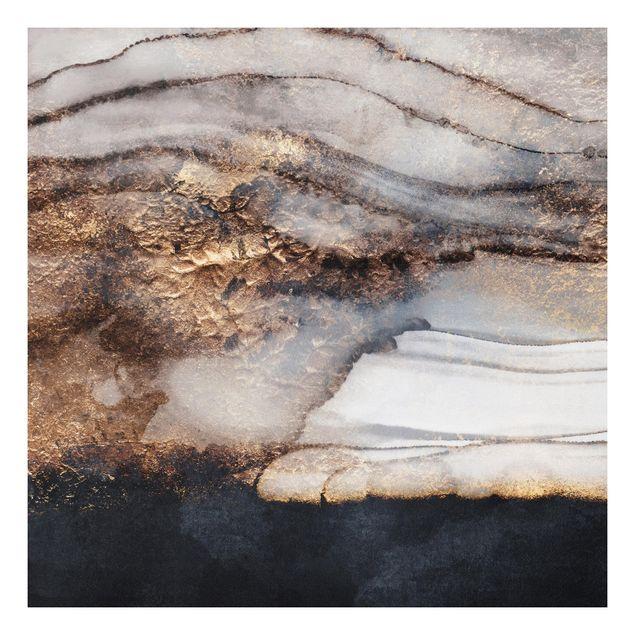 Forex Fine Art Print - Goldener Marmor gemalt - Quadrat 1:1