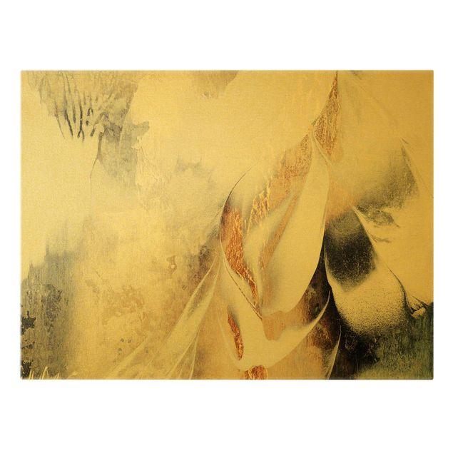 Leinwandbild Gold - Goldene abstrakte Wintermalerei - Querformat 4:3