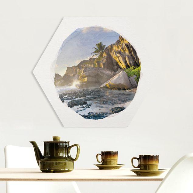 Hexagon Bild Forex - Wasserfarben - Sonnenuntergang im Inselparadies