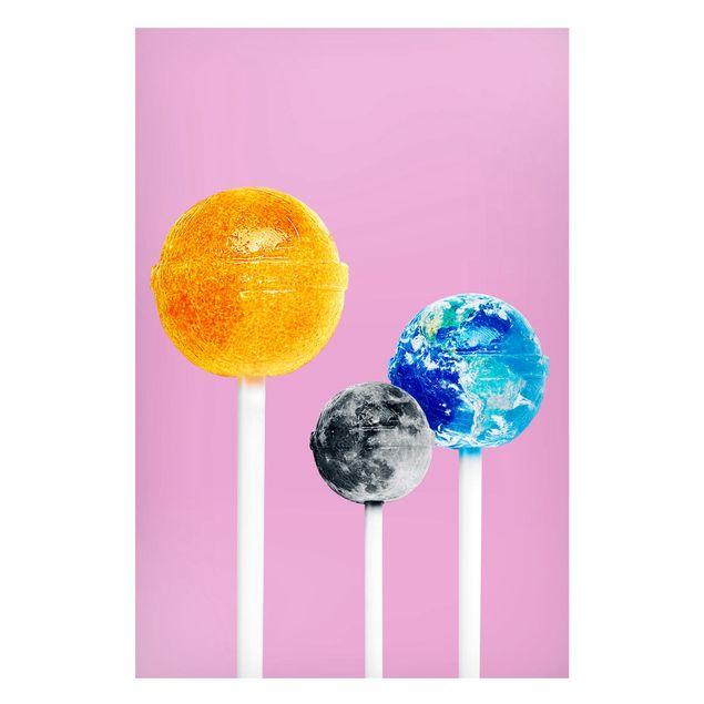 Magnettafel - Jonas Loose - Lollipops mit Planeten - Memoboard Hochformat 3:2
