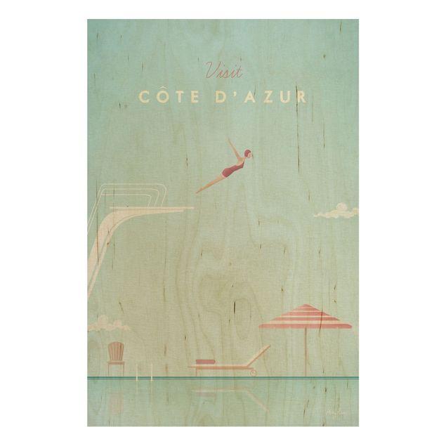 Holzbild - Reiseposter - Côte d´Azur - Hochformat 3:2