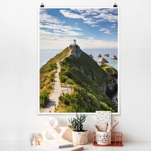 Poster - Nugget Point Leuchtturm und Meer Neuseeland - Hochformat 3:4