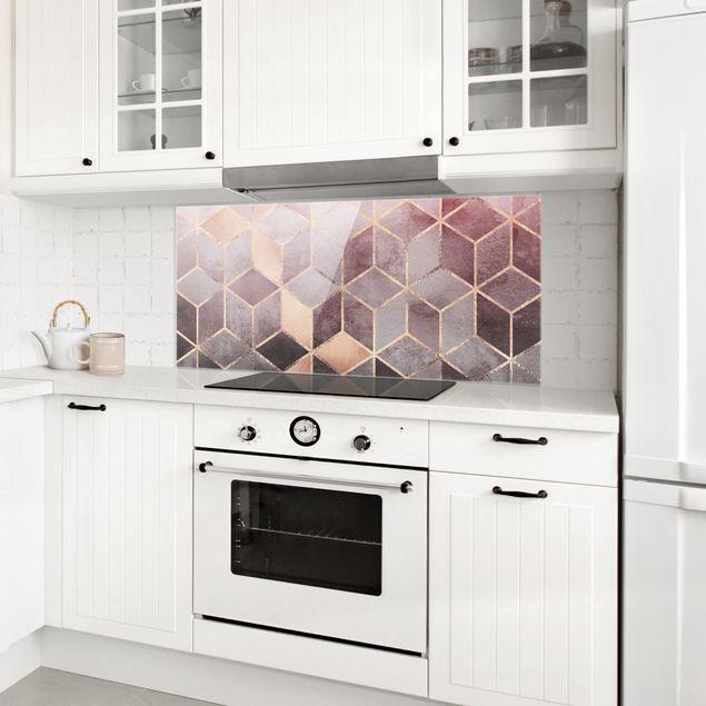 Spritzschutz Glas - Rosa Grau goldene Geometrie - Panorama