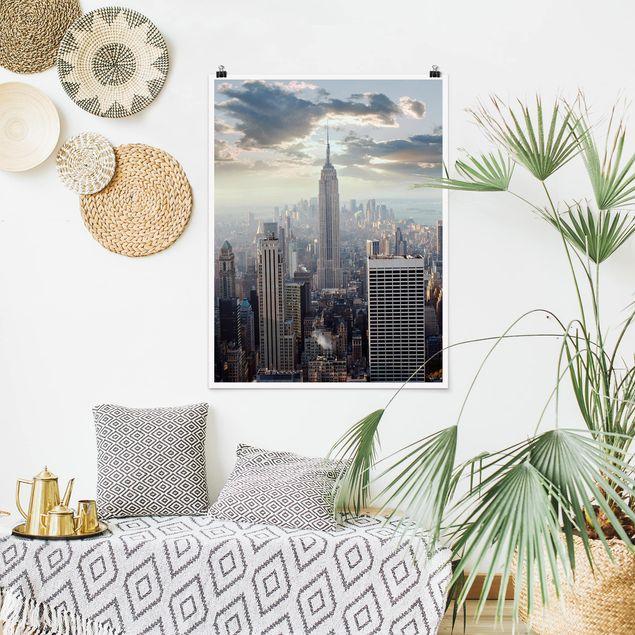 Poster - Sonnenaufgang in New York - Hochformat 3:4