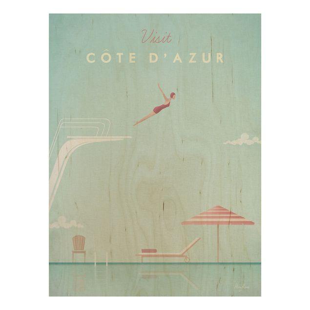 Holzbild - Reiseposter - Côte d´Azur - Hochformat 4:3