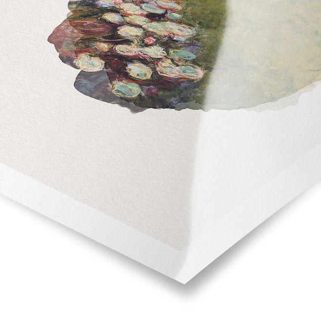 Poster - Wasserfarben - Claude Monet - Seerosen - Hochformat 4:3