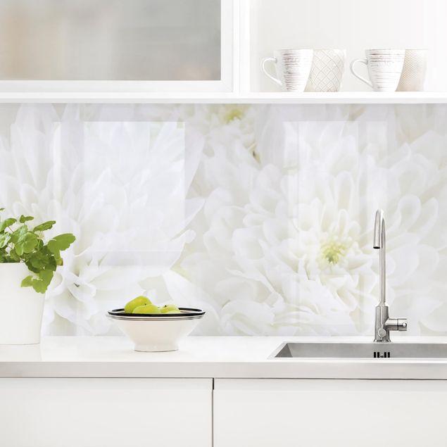 Küchenrückwand - Dahlien Blumenmeer weiß