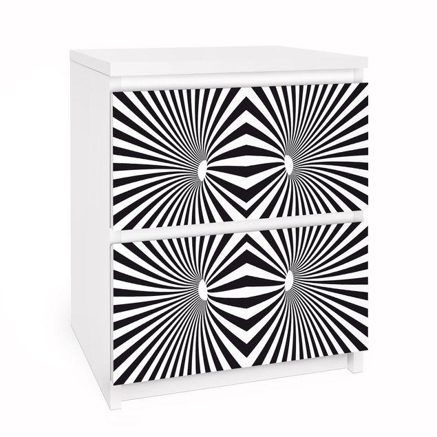 Möbelfolie für IKEA Malm Kommode - Selbstklebefolie Psychedelisches Schwarzweiß Muster