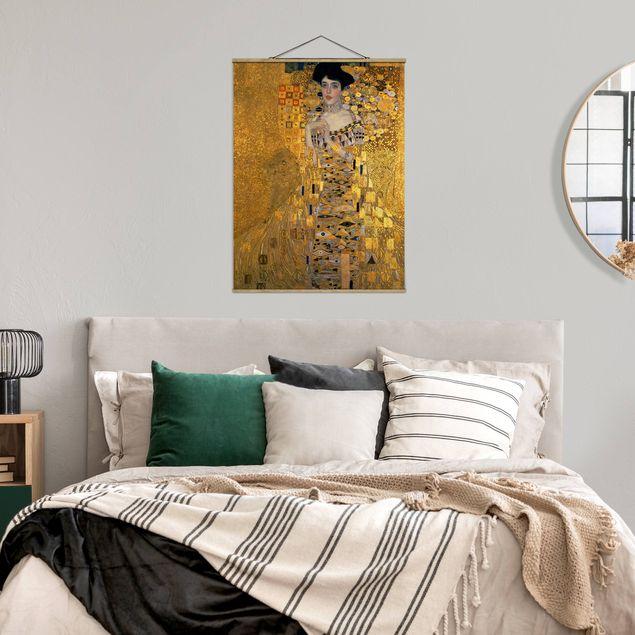 Stoffbild mit Posterleisten - Gustav Klimt - Adele Bloch-Bauer I - Hochformat 3:4