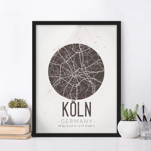 Bild mit Rahmen - Stadtplan Köln - Retro - Hochformat 3:4