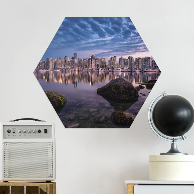 Hexagon Bild Alu-Dibond - Vancouver im Sonnenuntergang