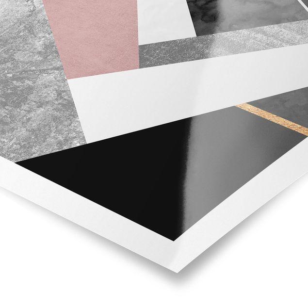 Poster - Schwarz Weiß Geometrie mit Gold - Hochformat 4:3