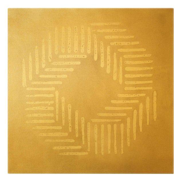 Leinwandbild Gold - Sandfarbene moderne Geometrie - Quadrat 1:1