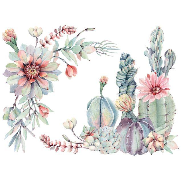 Wandtattoo - Aquarell Kaktus Blüte Ornament XXL