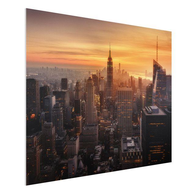 Forex Fine Art Print - Manhattan Skyline Abendstimmung - Querformat 3:4