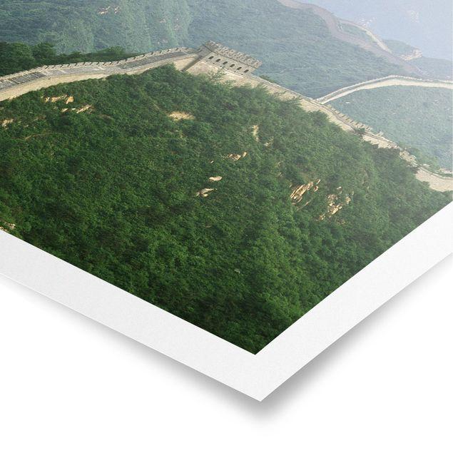 Poster - Die chinesische Mauer im Grünen - Quadrat 1:1