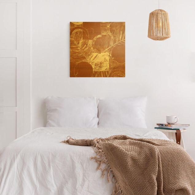 Leinwandbild Gold - Formen und Blätter Kupfer II - Quadrat 1:1