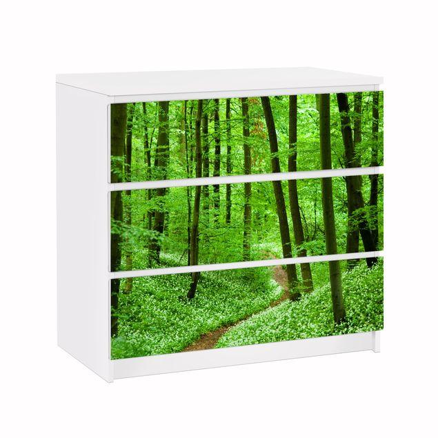 Möbelfolie für IKEA Malm Kommode - Klebefolie Romantischer Waldweg