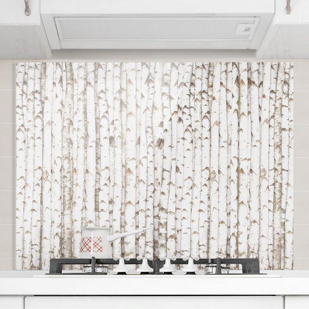 Glas Spritzschutz - No.YK15 Birkenwand - Querformat - 4:3