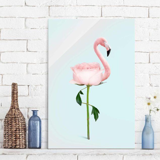 Glasbild - Jonas Loose - Flamingo mit Rose - Hochformat 3:2