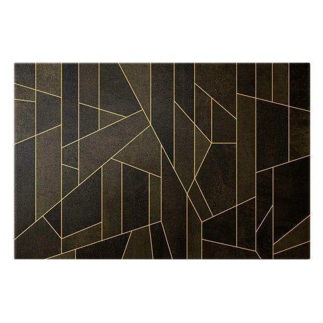 Leinwandbild Gold - Schwarz Weiß Geometrie Aquarell - Querformat 3:2
