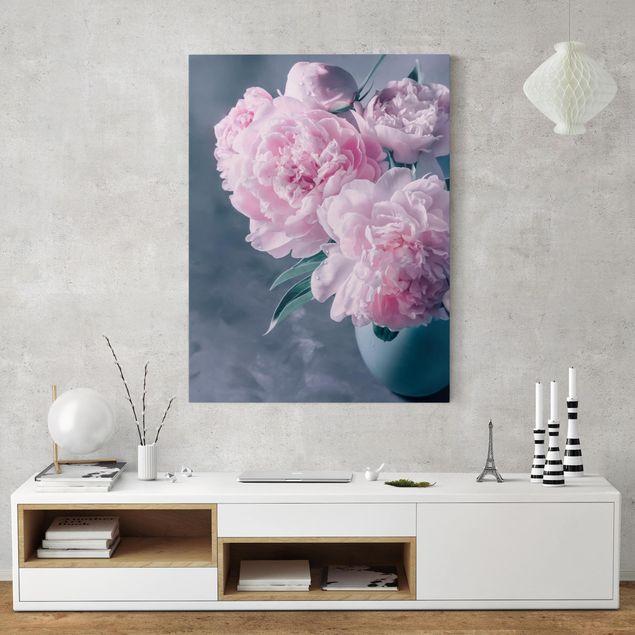 Leinwandbild - Vase mit Rosa Pfingstrosen Shabby - Hochformat 4:3