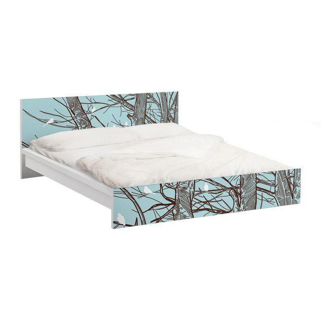 Möbelfolie für IKEA Malm Bett niedrig 140x200cm - Klebefolie Winterbäume