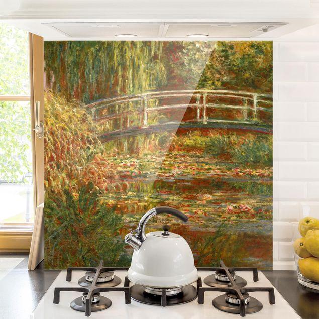 Spritzschutz Glas - Claude Monet - Seerosenteich und japanische Brücke (Harmonie in rosa) - Quadrat 1:1