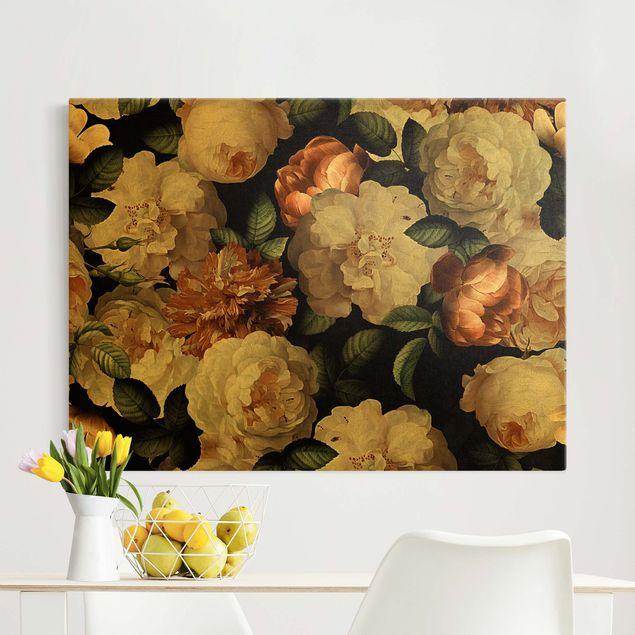 Leinwandbild Gold - Rote Rosen mit Weißen Rosen - Querformat 4:3