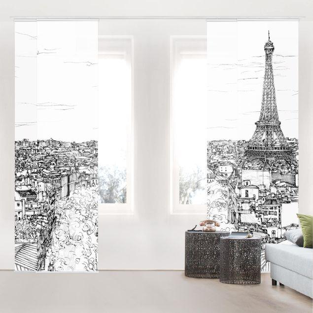 Schiebegardinen Set - Stadtstudie - Paris - Flächenvorhang