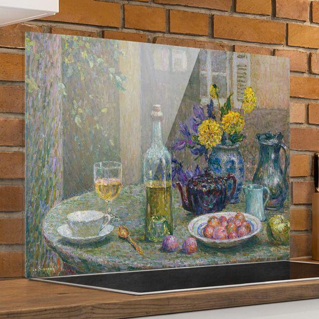 Glas Spritzschutz - Henri Le Sidaner - Gelbe Dahlien - Querformat - 4:3