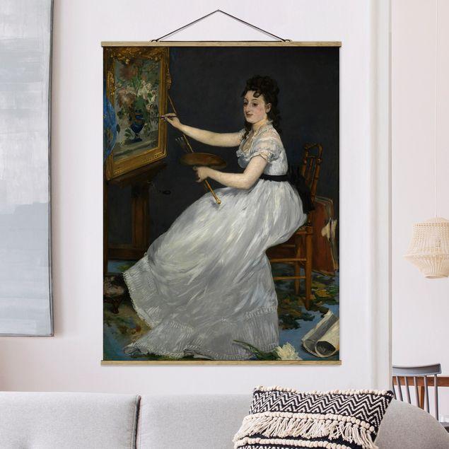 Stoffbild mit Posterleisten - Edouard Manet - Eva Gonzalès - Hochformat 3:4