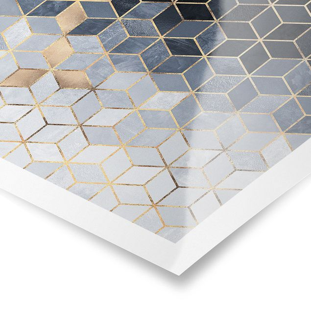 Poster - Blau Weiß goldene Geometrie - Querformat 3:4