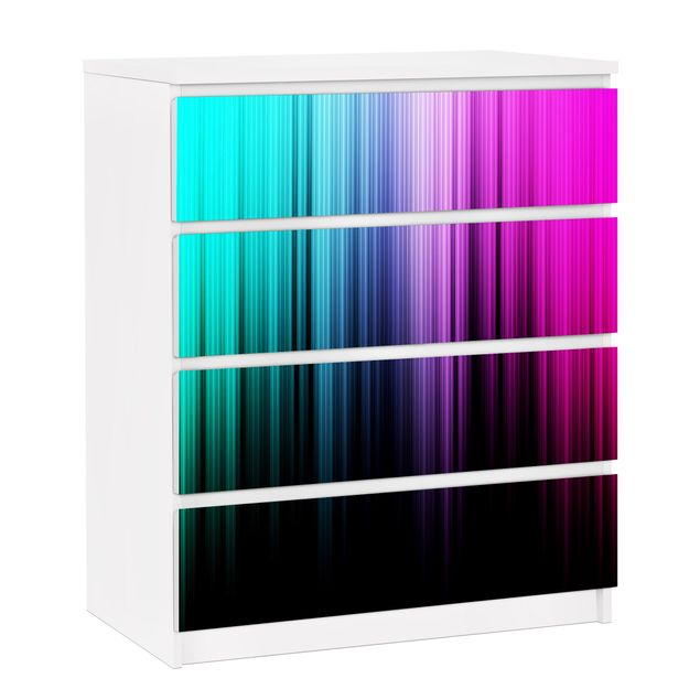 Möbelfolie für IKEA Malm Kommode - selbstklebende Folie Rainbow Display