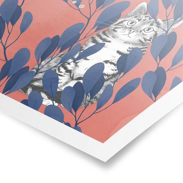Poster - Illustration Katze und Vogel auf Ast Blau Rot - Hochformat 4:3