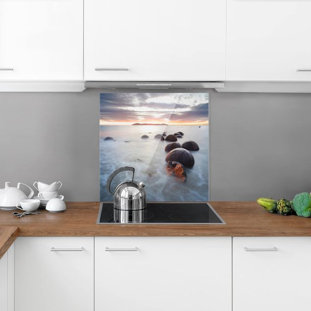 Glas Spritzschutz - Moeraki Neuseeland - Quadrat - 1:1