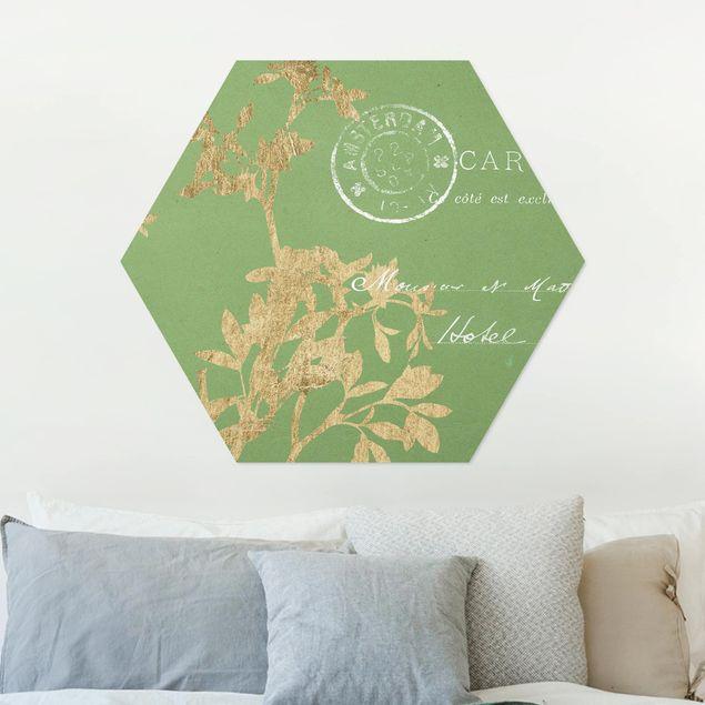 Hexagon Bild Alu-Dibond - Goldene Blätter auf Lind I