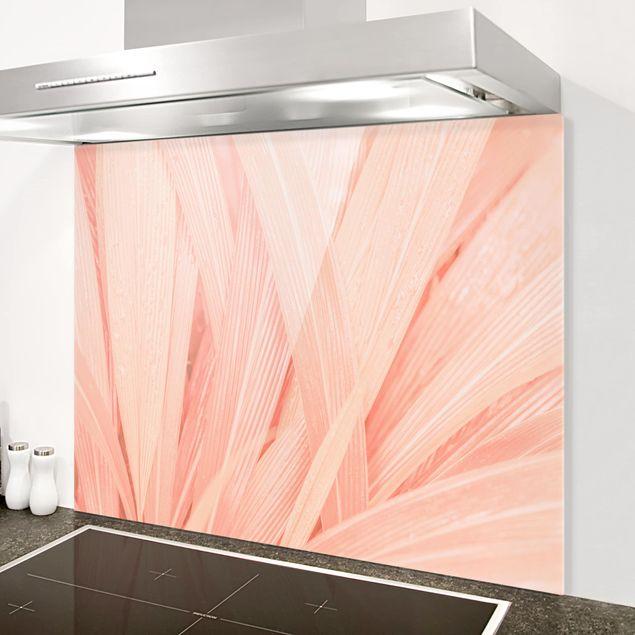 Glas Spritzschutz - Palmenblätter Rosa - Querformat - 4:3