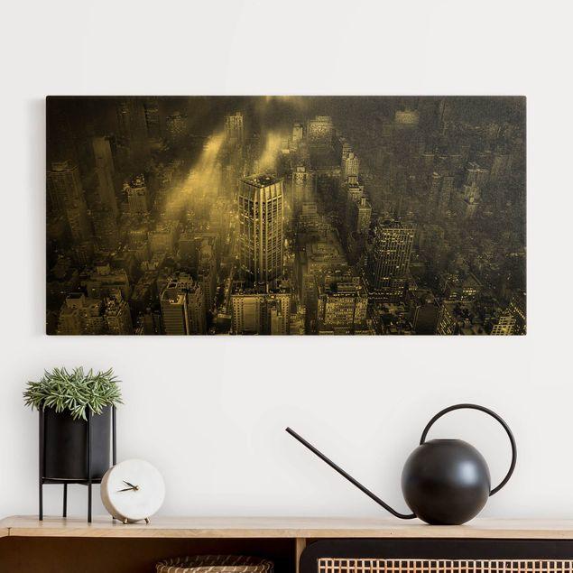Leinwandbild Gold - Sonnenlicht über New York City - Querformat 2:1