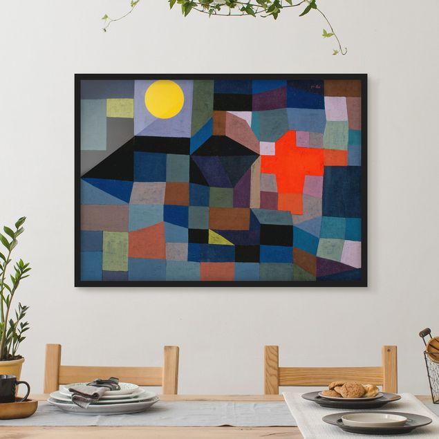 Bild mit Rahmen - Paul Klee - Feuer bei Vollmond - Querformat 3:4