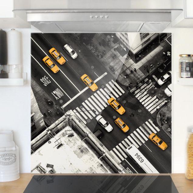 Glas Spritzschutz - New York City Cabs - Quadrat - 1:1