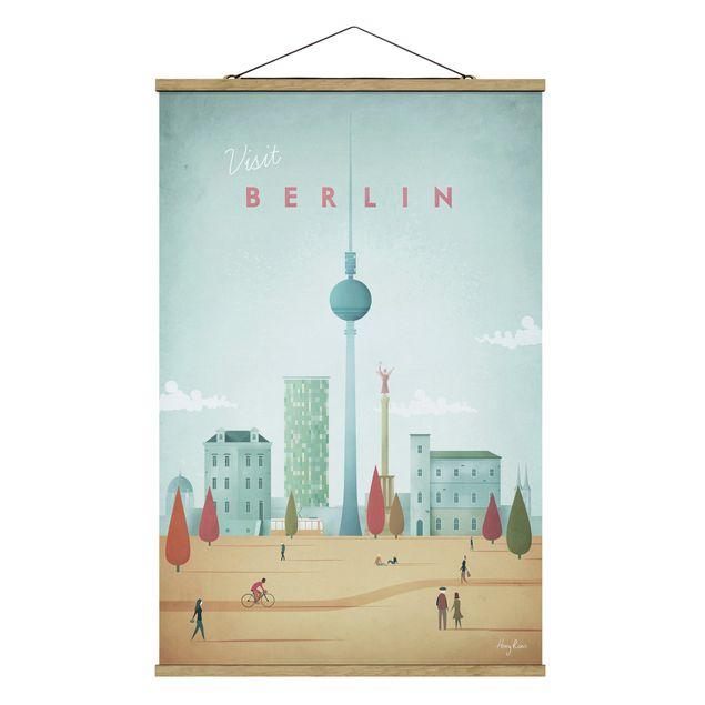 Stoffbild mit Posterleisten - Reiseposter - Berlin - Hochformat 2:3
