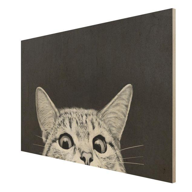 Holzbild - Illustration Katze Schwarz Weiß Zeichnung - Querformat 2:3