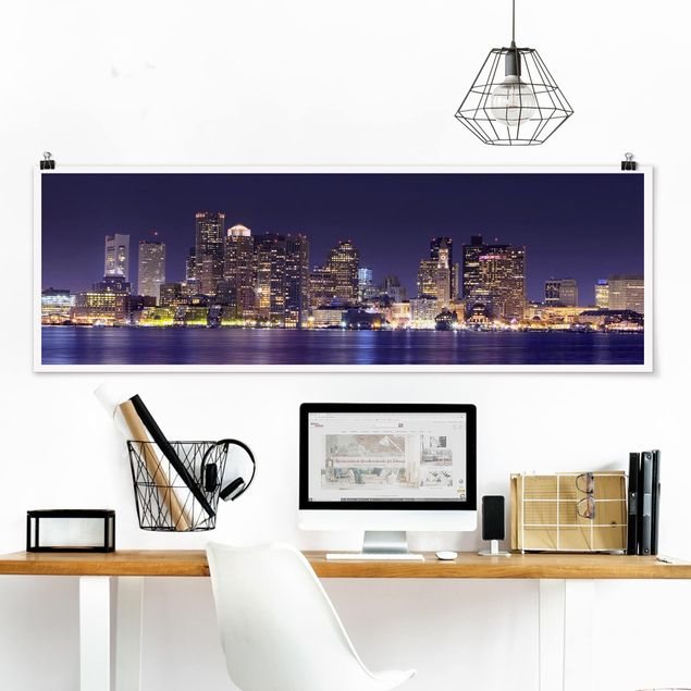 Poster - Boston by Night - Panorama Querformat