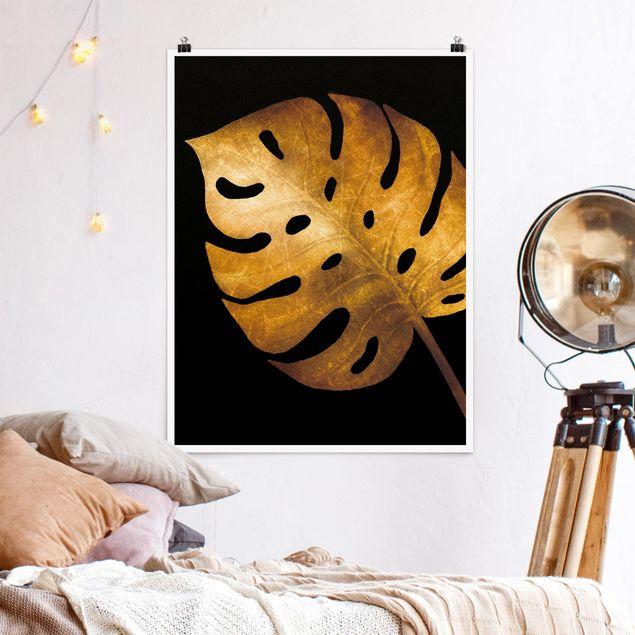 Poster - Gold - Monstera auf Schwarz - Hochformat 4:3
