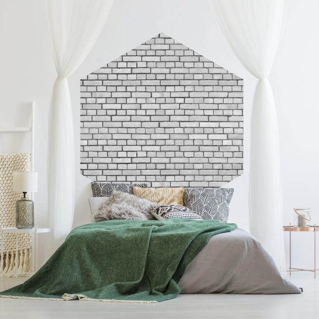 Hexagon Fototapete selbstklebend - Backstein Mauer Weiß