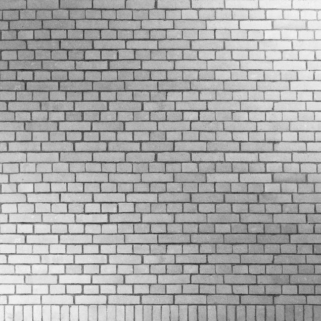 Metallic Tapete  - Backstein Mauer Weiß