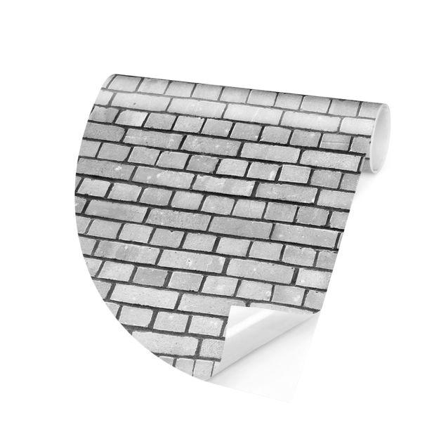 Runde Tapete selbstklebend - Backstein Mauer Weiß