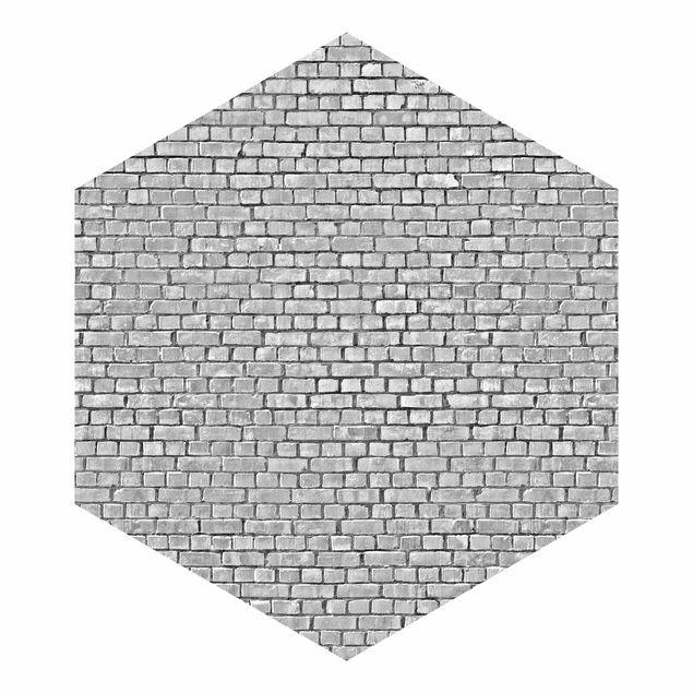 Hexagon Fototapete selbstklebend - Backstein Ziegeltapete schwarz weiß