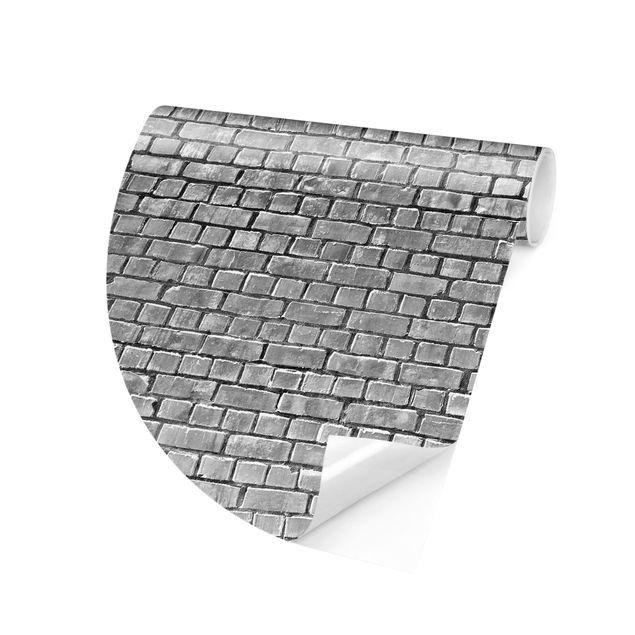 Runde Tapete selbstklebend - Backstein Ziegeltapete schwarz weiß